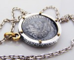 Antique coin- Necklace made of  silver, antique coin. Necklace antique coin