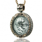 Antique coin II - Necklace made of gold / silver, antique coin. Necklace antique coin