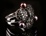 Nigrum Tortuga - engagement diamond ring, Ring made of gold with black diamonds and pearls, gothic gold ring, black pearls natural