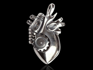 01/Cor Biomechanical - Pendant gothic silver heart, steampunk, skull, Anatomical heart, biomechanical heart pendant,