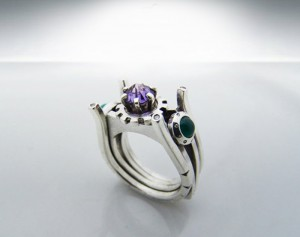 Galaxia LX - gothic silver ring, diamonds, agate, amethyst, Victorian silver ring, Victorian engagement ring