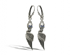 Silver wings  / sapphires / - Gothic silver earrings.
