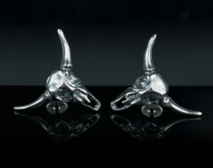 Bull skull silver earrings - Gothic silver earrings /Stud Earrings / Human Skull Earring Skull Stud Earring Skull Jewelry Skull