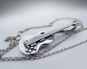 GIBSON (silver plated) - Necklace Gibson guitar, guitar necklace, guitar silver, guitar necklace, guitar pendant