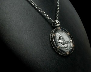 Skull Antique coin II - Necklace made of gold / silver, antique coin. Necklace antique coin