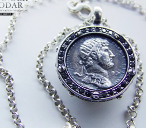 Antique coin- Necklace made of gold / silver, antique coin. Necklace antique coin