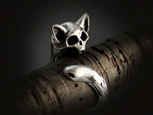 Biomechanical cat - ring made of silver