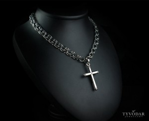 Sterling silver Cross - Skull necklace made of silver, Cross necklace
