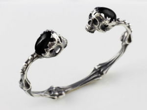 001 / Holy bones (natural black onyx/brass) - skull bracelet, anatomical bones, skulls, biomechanics, Cuff Bracelet