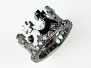 Corona (black) - silver crown ring, crown, crown ring, black crown, Handmade silver ring