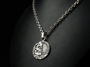 Jefferson Skull Zombie - Necklace made of silver, antique coin. Necklace antique coin, zombie, zombie coin, jefferson coin, skull coin