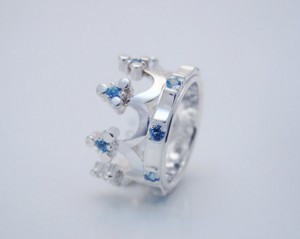 Crown silver / blue topaz - Crown silver ring, Delicate rings, Byzantine style, Engagement Rings