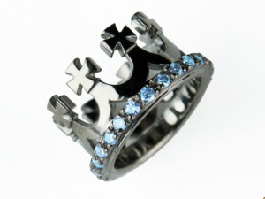 Corona (black/topaz) - silver crown ring, crown, crown ring, black crown, Handmade silver ring
