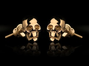 Gold skull earrings | TYVODAR