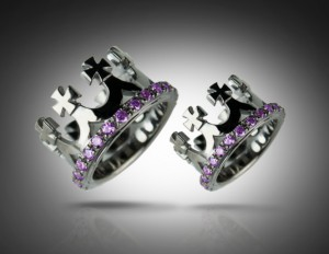 Crown black/purple - Wedding Bands, Crown wedding rings, Delicate rings, Byzantine style, Wedding rings. Wedding crown