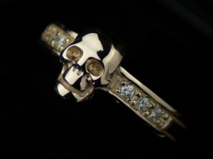 Albus adamas - gothic skull gold ring, skull engagement ring / Steampunk  (1)