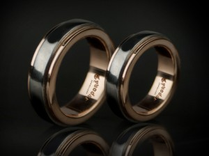 001/Red gold and black steel - Wedding Band Sets, Wedding Bands, gold / silver, Black silver / red gold / Black Wedding Bands.