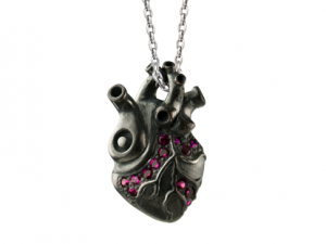 "Cor nigrum ""A""- Pendant gothic, black gothic heart, steampunk , anatomical gothic heart, biomechanical heart."