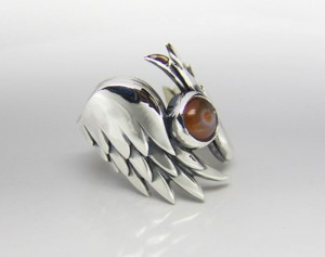Pennas - silver wings, anatomical silver, gothic silver wings ring
