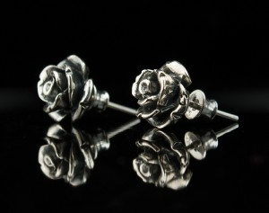 Black Roses - Delicate, hand made earrings roses / Sterling Silver Rose / Earrings Serling Silver Stud Earrings Rose Bud Studs