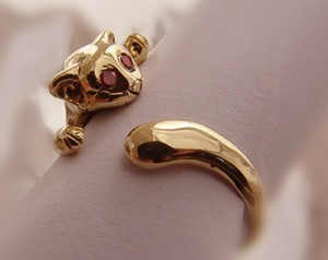 CAT SMARAGDUS (gold) - ring made of gold, Womens Kitty Cat Ring, natural green emeralds, cat