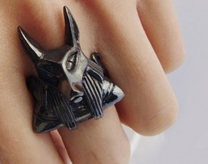 Anubis (black)- ring made of silver, Anubis ring