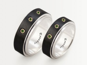 Wedding Band Sets / balck silver 925 / gold 585 / emeralds / - Wedding Bands, silver, Black silver