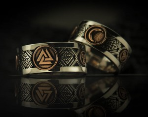 Valknut Wedding Bands (gold / silver) - Pagan Wedding Bands