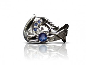 001 / Sapphire dragon - gold ring, celtic ring