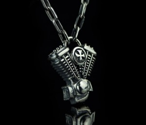 Chopper's heart / silver 925 / - biomechanical Motor Pendant