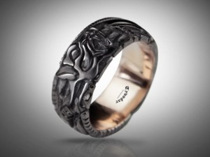 BLACK FENRIR ( gold 585 ) -  Viking ring, fenrir ring, fenrir wolf