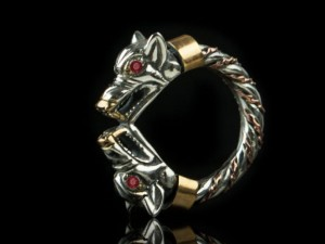 Fenrir (ruby / silver) - Viking ring with wolf heads - Silver Viking Wolf Head Ring Jewel Celtic Pagan Pagan Wolves Fenrir