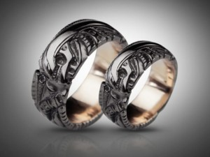 BLACK - Biomechanical Wedding Bands, gothic silver ring, Anatomical ring / Steampunk / Biomechanics / Men ring/ Men gift
