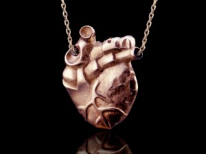 Anatomy of pectus - Pendant heart / Anatomical heart / Biomechanical heart / Tattoo heart necklace (1)