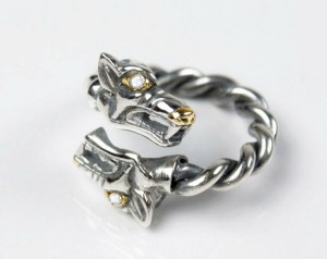 Fenrir (silver) - Viking ring with wolf heads - Silver Viking Wolf Head Ring Jewel Celtic Pagan Pagan Wolves Fenrir