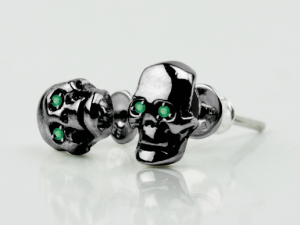 Skull silver earrings /emerald/ - Gothic silver earrings /Stud Earrings / Human Skull Earring Skull Stud Earring Skull Jewelry Skull