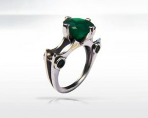 Smaragdus quartz - ring made of silver, natural emerald quartz, agates,green emerald ring, emerald green