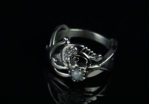 Diamond dragon - silver ring, celtic ring, ring with diamonds, dragon diamonds, diamond dragon engagement ring, dragon, moon stone