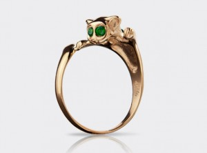 14k gold cat ring | TYVODAR