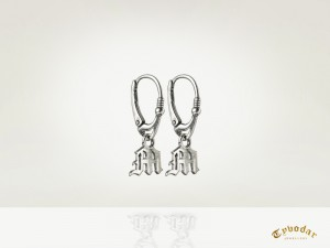 Gothic letter / silver 925 / - earrings