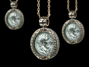 01/ Antique coin II - Necklace made of gold / silver, antique coin. Necklace antique coin