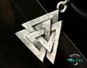 Valknut /brass/ - The Valknut Viking Necklace Sterling Silver ,Viking Necklace Scandinavian ,Norse Viking Jewelry