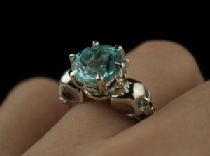 Topaz and skulls - Topaz Ring in Sterling Silver (1)
