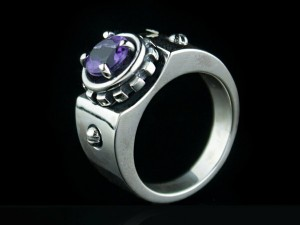 Violet - Amethyst Ring in Sterling Silver, silver ring amethyst, amethyst ring,engagement amethyst, biomechanical ring
