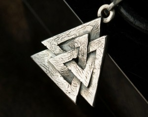Valknut (silver) - The Valknut Viking Necklace Sterling Silver ,Viking Necklace Scandinavian ,Norse Viking Jewelry
