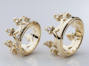 Royal crowns / silver  / gold plated  - Wedding rings