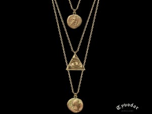 001 / Antique coin- Necklace made of gold / silver, antique coin. Necklace antique coin
