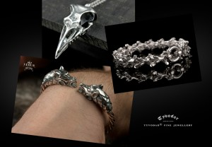 Fenrir (brass/ silverplated)- Viking bracelet with wolf heads - silver skull bracelet, anatomical, biomechanics, Cuff Bracelet, cuff  (1)