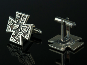 Maltese cross - custom cufflinks for men, motorbike silver, cufflinks cuff