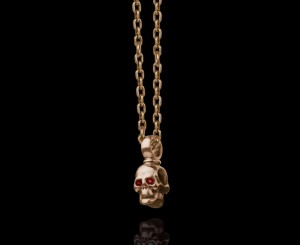 Pendant skull /brass / gold - plated 14k